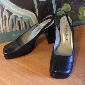 Charles and David black chunky heeled career shoe.